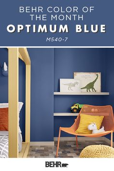 Looking for a new wall color for your kid's bedroom? The Behr paint Color of the Month, Optimum Blue, is a fun choice! This medium-tone blue is the perfect complement for the playful pops of color in this vibrant space. Click below to see more. Behr Paint Colors, Paint Colors For Home, Wall Colors, House Colors, Guest Bedroom Office, Girls Bedroom, Gray Striped Walls, Boy Room Paint, Blue Armchair