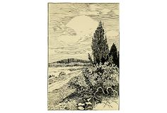 Ink drawing by German artist Frank Hans of a quiet country landscape beneath swirling clouds, circa 1920.