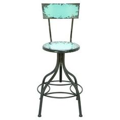 """Adjustable bar chair with a distressed finish.Product: ChairConstruction Material: MetalColor: Antiqued tealFeatures: Adjustable seat heightComfort foot restDimensions: 41"""" H x 18"""" Diameter"""