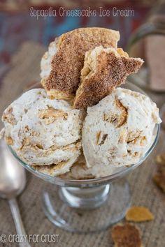 Sopapilla Cheesecake Ice Cream - no machine needed! Full of cinnamon sugar and cheesecake flavor.