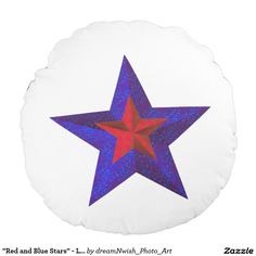 """""""Red and Blue Stars"""" - Layered Design [a] Round Pillow #redandbluestars #redstarpillow #bluestarpillow #redwhiteandbluepillow #starpillow #dreamnwish_photo_art #homedecor"""