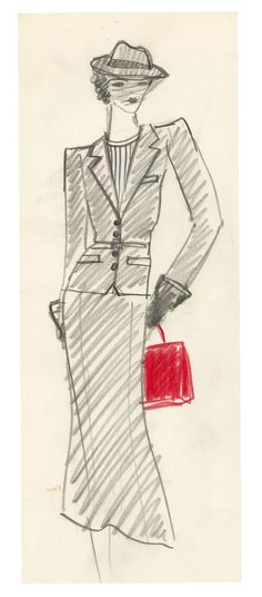 1974 - Yves Saint Laurent, Sketch for Annie Duperrey in 'Stavisky' directed by Alain Resnais