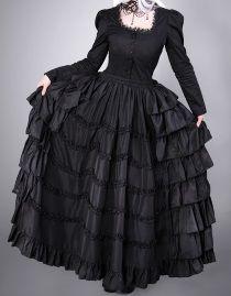 Longue jupe gothique victorienne à volants