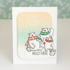 card critters bear MFT Polar bear pals Die-namics distress ink inked background winter frosty colours One Card at a Time Christmas Card Crafts, Noel Christmas, Christmas Cards, Bear Card, Animal Cards, Winter Cards, Scrapbook Cards, Scrapbooking, Copics