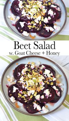 Top beets with goat cheese, honey, and a few crunchy toppings. You'll be reaching for seconds in no time! Steamed or roasted beets are perfect in this dish. You'll love the nuts and fresh citrus flavors! Chef Salad Recipes, Beet Recipes, Healthy Salad Recipes, Potato Recipes, Smoothie Recipes, Healthy Food, Kitchen Recipes, Cooking Recipes, Roasted Beet Salad