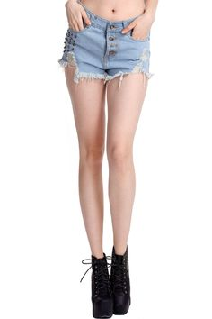 Shop Distressed Riveted Light-blue Shorts at ROMWE, discover more fashion styles online. Light Blue Shorts, White Shorts, Knee Length Shorts, Short Styles, Leather Shorts, Jersey Shorts, Latest Street Fashion, Summer Essentials, Romwe