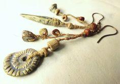 Earrings Tribal Artisan Hemp ceramic Pendant by greybirdstudio, £40.00