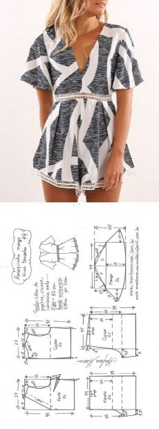Sewing Clothes Macaquinho com manga sino e pregas - DIY - molde, corte e costura - Marlene Mukai // Ольга Тибейкина - Macaquinho com manga sino e pregas - DIY - molde, corte e costura - Marlene Mukai Sewing Clothes Women, Dress Clothes For Women, Diy Clothing, Woman Clothing, Fashion Sewing, Diy Fashion, Ideias Fashion, Moda Fashion, Ladies Fashion