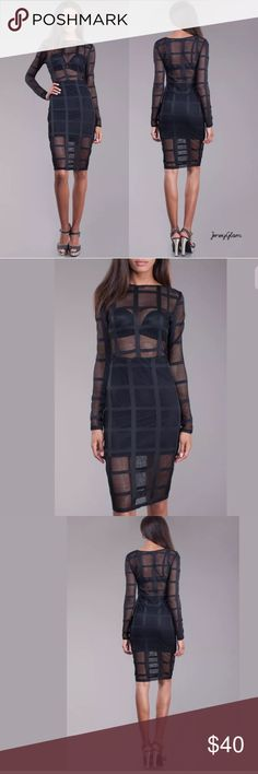 Dress Netted Mesh Cage Long Sleeve Bodycon NEW Super sexy celeb style! Featuring a netted mesh black bodycon dress with ladder pattern. Wide boat neck style neckline. Long sleeves. Skirt lining is included - bra is not included.   Made of: 95% Polyester & 5% Spandex Dresses Long Sleeve
