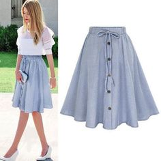 Summer Women Skirt Vintage Stripe Print Lace-up Button High Waist Skirts Pleated. - Summer Women Skirt Vintage Stripe Print Lace-up Button High Waist Skirts Pleated Cotton Midi Knee-length Skirts Source by - Skirt Outfits, Dress Skirt, Midi Skirt, Pleated Skirt, Skater Skirt, Chiffon Skirt, Denim Skirt, Chiffon Blouses, Suede Skirt