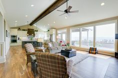 The great room and it's view of the Columbia River.  Designed and built by Quail Homes of Vancouver WA.