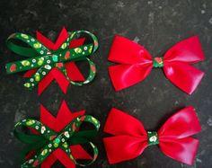 Navidad Noel pequeños arcos pinzas de pelo por marimaricollection