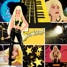 The Stingers! Just had to finish the trilogy. If you all want to see any other Jem characters in moodboards, let me know! Jem And The Holograms, Old Comics, Halloween Looks, My Childhood Memories, Live Action, Nostalgia, Cartoon Cartoon, Fandoms, Singer