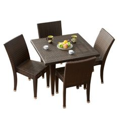 BEST Outdoor Dining Set, 5-Piece by Best. $676.98. Sturdy and strong for comfortable seating. Low maintenance care. Includes: 1 table and 4 chairs. Tightly woven. Never again worry about surprise barbecues or outdoor events with multiple guests. Made of synthetic wicker, the 5-piece outdoor dining set is sturdy and stylish. beautifully woven, this set combines a multiple shades of brown to create a piece that wont take away from the beauty of the outdoors but rather will...