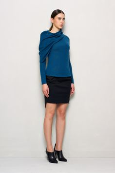 i'm not sure about this shade of blue on me, but it's very pretty.  Cowl Neck Sweater with Asymmetric...
