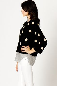 polka dots over stripes  Just bought this sweater!