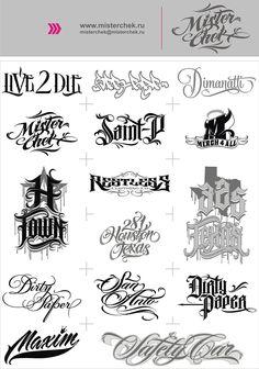 Logo_set by MisterChek on DeviantArt - Ide Tattoos Chicano Tattoos Lettering, Tattoo Lettering Alphabet, Tattoo Name Fonts, Tattoo Lettering Styles, Phrase Tattoos, Graffiti Lettering Fonts, Tattoo Design Drawings, Lettering Design, Hand Lettering