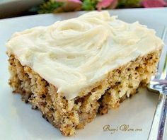 Bunny's Warm Oven: Banana Walnut Bars with Cream Cheese frosting