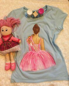 """Купить """"Балерина"""" - голубой, роспись по ткани, роспись футболок, роспись на заказ, рисунок, рисунок на ткани"""