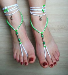 barefoot sandals white green crochet by BarefootSandalsOnly