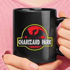 0998e99a Charizard Park Pokemon Jurassic Park Mashup Black Mug. Teeqq T-shirt Store