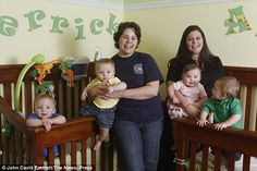 Lesbian mothers give birth to quadruplets born TWO weeks apart after BOTH women have two babies each