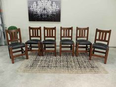 Antique Dining Chairs Outstanding quality set of 6 quartered Oak Arts + Crafts / Mission dining chai Antique Dining Chairs, Cold Shower, Side Chairs, Arts And Crafts, Mission Oak, Antiques, Seo, Furniture, Design