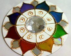 Mandala 7 cores em CD reciclado