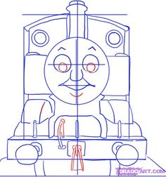 How to Draw Thomas the Tank Engine, Step by Step, Pbs Characters, Cartoons, Draw Cartoon Characters, FREE Online Drawing Tutorial, Added by Dawn, February 13, 2008, 4:26:33 am