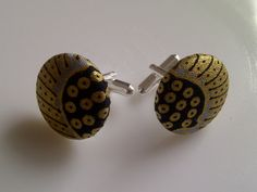 African Print Button Cufflinks Baby Blue Gold & by JustThingsbyLx, £6.00