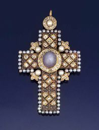 A LATE 19TH CENTURY STAR SAPPHIRE, DIAMOND AND PEARL PECTORAL CROSS PENDANT