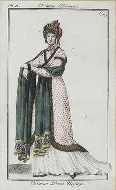 A teal shawl, an 12 costume parisien