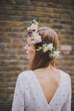 floral crown Beautiful bride / wedding inspo - http://dropdeadgorgeousdaily.com/2014/01/bohemian-wedding-dress/ #boho #bride #wedding