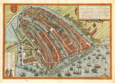 Antique map - Bird's-eye view plan of Amsterdam by Braun and Hogenberg Old Maps, Antique Maps, Antique Decor, Amsterdam Map, Amsterdam Netherlands, City Maps, Birds Eye View, Historical Maps, Vintage Wall Art