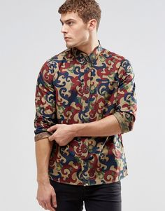 Pretty Green -  Shirt In All Over Camo Print In Slim Fit