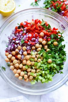 Chickpeas and Black Bean Salad Awesome Outrageous Herbacious Mediterranean Chickpea Salad Chickpea Salad Recipes, Cucumber Recipes, Vegetarian Recipes, Cooking Recipes, Healthy Recipes, Garbanzo Bean Recipes, Arugula Salad Recipes, Vegetarian Lunch, Cooking Tips
