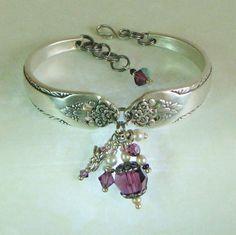 Silver Spoon Bracelet, Lovely Lady via Etsy. Silver Spoon Jewelry, Fork Jewelry, Silverware Jewelry, Beaded Jewelry, Cutlery, Bullet Jewelry, Silver Spoons, Jewellery, Spoon Bracelet