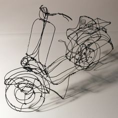 Playful Three-Dimensional Wire Sculptures - My Modern Met  Senn tackles the construction of ordinary items ranging from the retro rotary phone to the present-day vespa. There's something very playful about his works that compose outlined versions of invisible things. http://www.mymodernmet.com