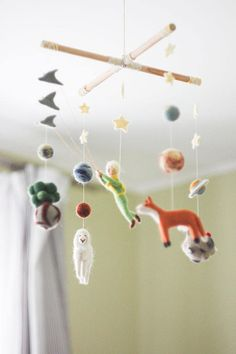 Needle Felted Baby Mobile Little Prince Fantasy Baby Crib