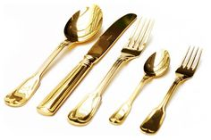 Shiny Gold Plastic Cutlery Gold | Gold Plated Cutlery Set contemporary-flatware