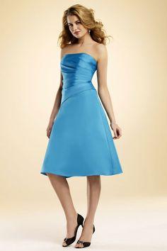 Charming sleeveless A-line malibu blue