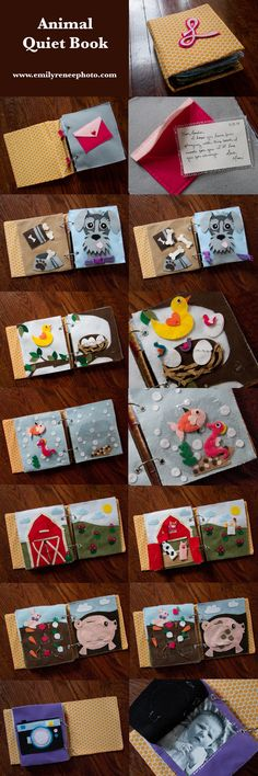 Animal quiet book emilyreneephoto.com Love this one! simple pictures for the young.