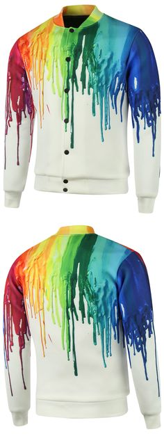 Plus Size Stand Collar Splatter Paint Cotton Jacket