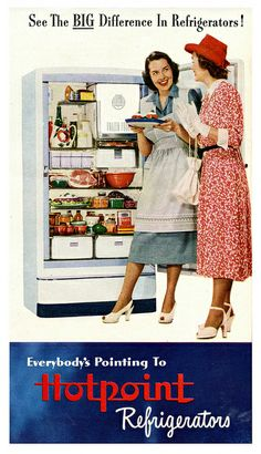 1948 Hotpoint.  Now that was a fridge I can remember as a kid.  Mom thought it was the greatest.  Remember the door handle?  If you locked yourself in, you couldn't get out.  Had a big old pull latch on the front.