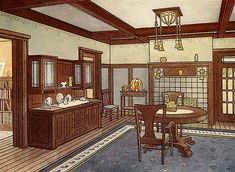 An archival image from 1913 shows woodwork and paint treatments in a Craftsman dining room. Craftsman Dining Room, Craftsman Decor, Craftsman Interior, Craftsman Kitchen, Craftsman Style Homes, Craftsman Bungalows, Craftsman Houses, Arts And Crafts Interiors, Arts And Crafts House