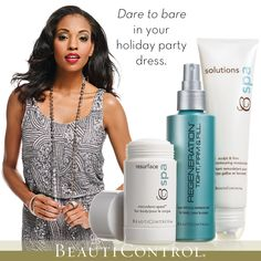 Holiday parties mean sparkly holiday dresses! Dare to bare with the Age-Defying Body Treatment. Clinically proven to make skin look firmer, tighter and more youthful. #HolidayGlam #BeautiControl