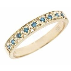 0.11ct Blue Diamond Wedding Anniversary Band Ring 10K Yellow Gold Size 7 (0.11cttw, SI Clarity) Wedding Ring Finger REVIEW