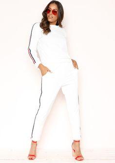 e0b632c656 Missyempire - Stella White Striped Jumper Loungewear Set Loungewear Set