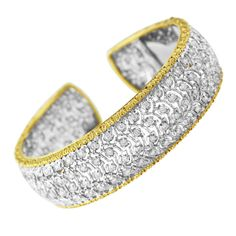 Buccellati Diamond and Gold Cuff Bracelet | From a unique collection of vintage cuff bracelets at http://www.1stdibs.com/jewelry/bracelets/cuff-bracelets/