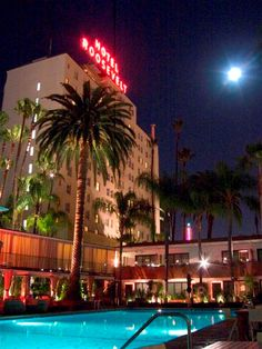A view of iconic neon from the Tropicana Bar and Pool at the Hollywood Roosevelt in Los Angeles